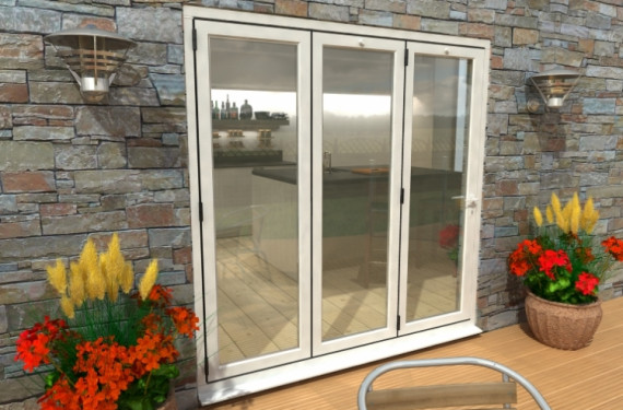 2100mm White Aluminium Bifold Doors - Climadoor