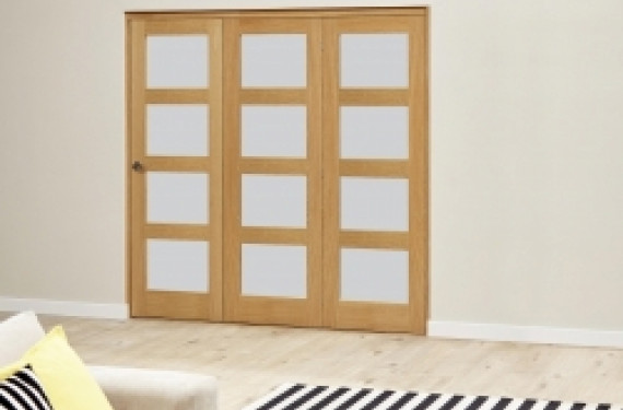 Oak 4l Shaker Glazed Roomfold Deluxe 3 Door 1794mm X 2078mm ( 1800mm Set )
