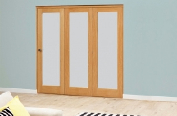 Frosted Glazed Oak - 3 Door Roomfold 1794mm X 2078mm - (1800mm Set)