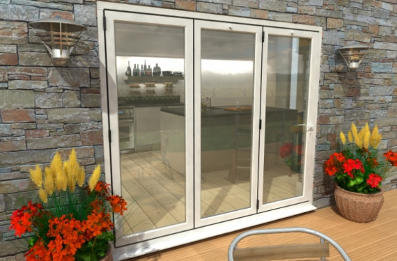 2400mm White Aluminium Bifold Doors - Climadoor