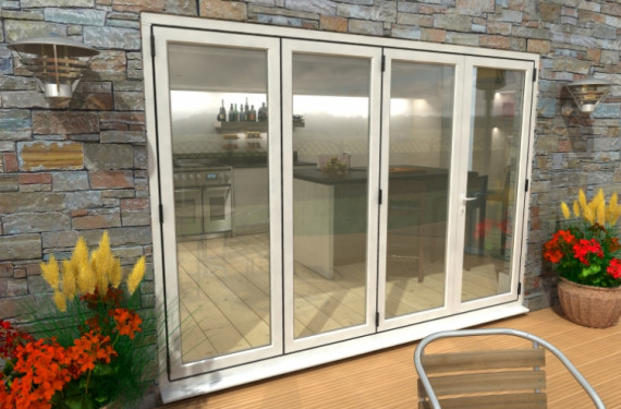 3000mm ( 3 + 1 ) White Aluminium Bifold Doors - Climadoor