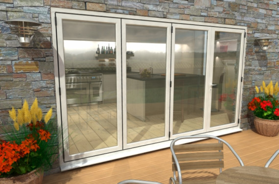3600mm ( 3 + 1 ) White Aluminium Bifold Doors - Climadoor