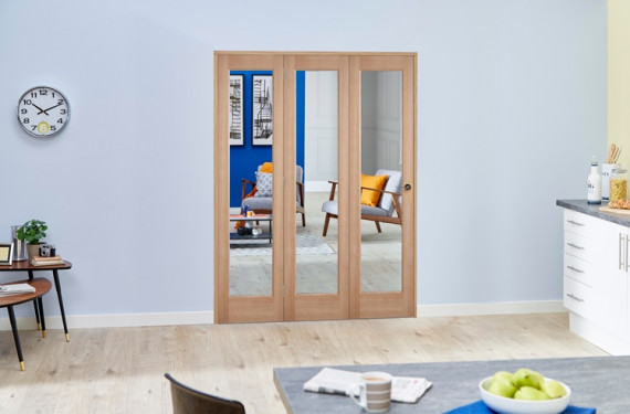 Slimline Glazed Oak 3 Door Roomfold Deluxe ( 3 X 419mm Doors )