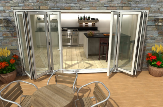 4200mm ( 3 + 3 ) White Aluminium Bifold Doors - Climadoor