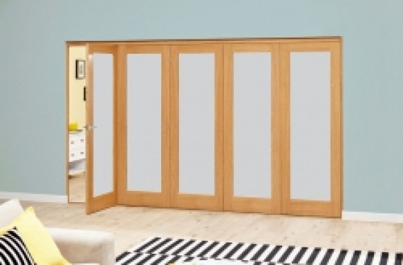 Frosted Glazed Oak - 5 Door Roomfold Deluxe 2943mm X 2078mm - (3000mm Set)