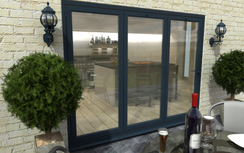 Grey aluminium bifold doors climadoor external folding doors for Double glazed patio doors sale
