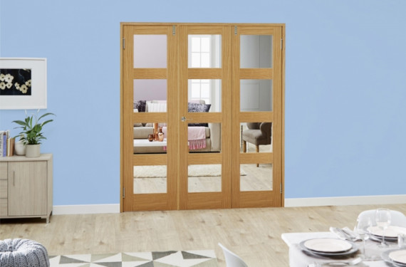 Clear Glazed Oak Unfinished 4l 3 Door Shaker Frenchfold (3 X 2'0
