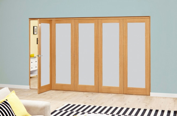 Frosted Glazed Oak - 5 Door Roomfold Deluxe (5 X 2'0