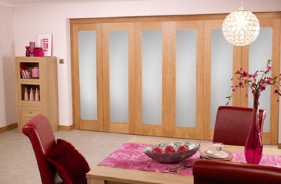 Frosted Glazed Oak - 6 Door Roomfold (5+1 X 2'0
