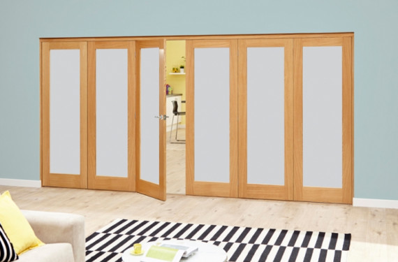 Frosted Glazed Oak - 6 Door Roomfold Deluxe (3+3 X 2'6