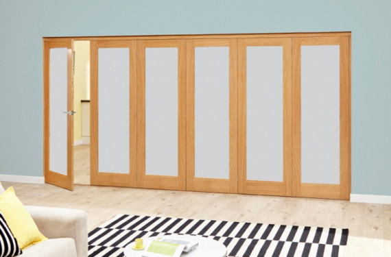 Frosted Glazed Oak - 6 Door Roomfold Deluxe (5+1 X 2'6