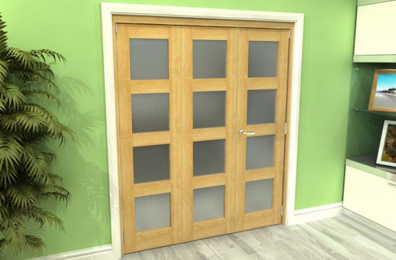 Frosted Glazed Oak 3 Door 4l Roomfold Grande (2 + 1 X 610mm Doors)