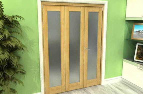 Frosted Glazed Oak 3 Door Roomfold Grande (2 + 1 X 533mm Doors)