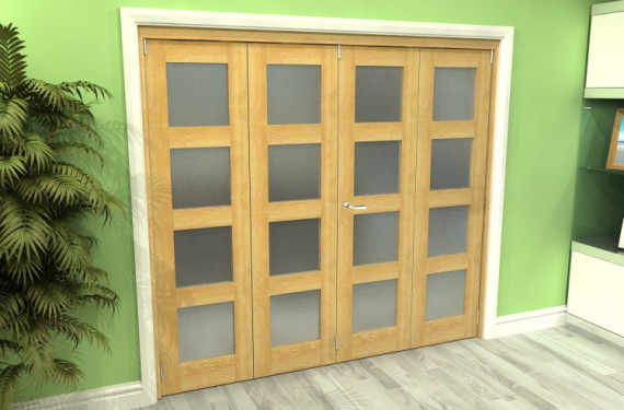 Frosted Glazed Oak 4 Door 4l Roomfold Grande (2 + 2 X 533mm Doors)