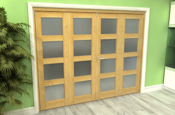 Frosted Glazed Oak 4 Door 4l Roomfold Grande (2 + 2 X 610mm Doors)