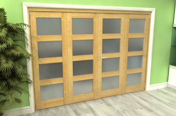 Frosted Glazed Oak 4 Door 4l Roomfold Grande (2 + 2 X 686mm Doors)