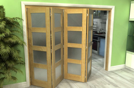 Frosted Glazed Oak 4 Door 4l Roomfold Grande (4 + 0 X 610mm Doors)