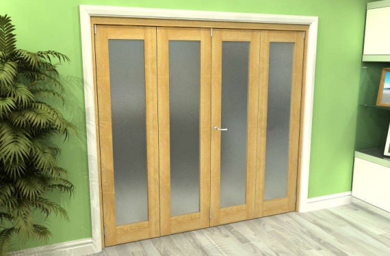 Frosted Glazed Oak 4 Door Roomfold Grande (2 + 2 X 533mm Doors)