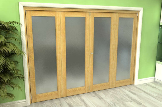 Frosted Glazed Oak 4 Door Roomfold Grande (2 + 2 X 762mm Doors)