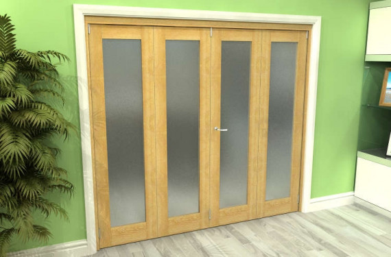 Frosted Glazed Oak 4 Door Roomfold Grande 2400mm (8ft) 2 + 2 Set