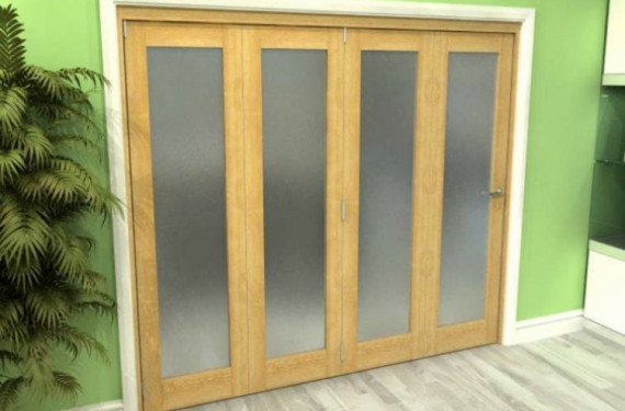 Frosted Glazed Oak 4 Door Roomfold Grande (4 + 0 X 686mm Doors)