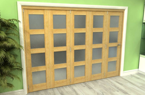 Frosted Glazed Oak 5 Door 4l Roomfold Grande 3000mm (10ft) 5 + 0 Set
