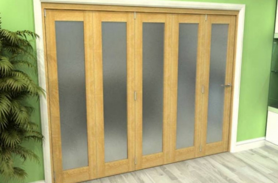 Frosted Glazed Oak 5 Door Roomfold Grande (5 + 0 X 533mm Doors)