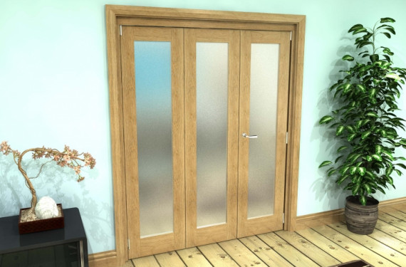 Frosted Glazed Oak Prefinished 3 Door Roomfold Grande (2 + 1 X 533mm Doors)