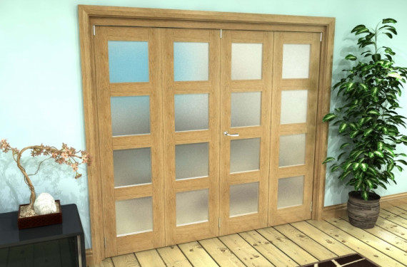 Frosted Glazed Oak Prefinished 4 Door 4l Roomfold Grande 2400mm (8ft) 2 + 2 Set