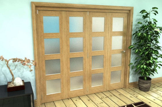 Frosted Glazed Oak Prefinished 4 Door 4l Roomfold Grande (4 + 0 X 610mm Doors)