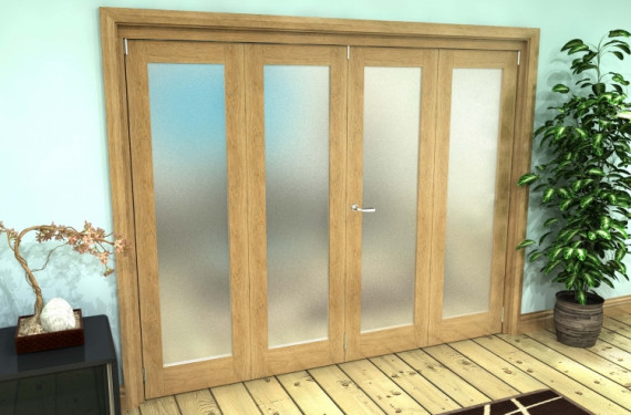 Frosted Glazed Oak Prefinished 4 Door Roomfold Grande (2 + 2 X 610mm Doors)