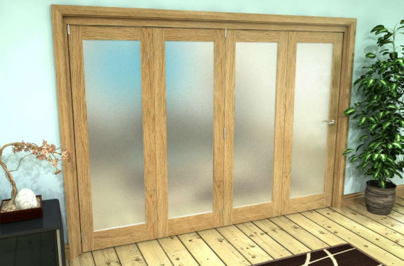 Frosted Glazed Oak Prefinished 4 Door Roomfold Grande (4 + 0 X 686mm Doors)