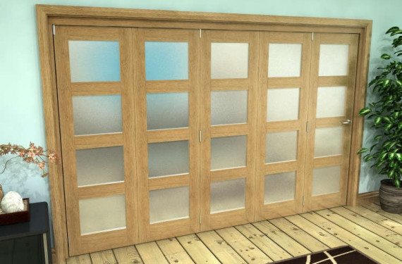 Frosted Glazed Oak Prefinished 5 Door 4l Roomfold Grande (5 + 0 X 762mm Doors)