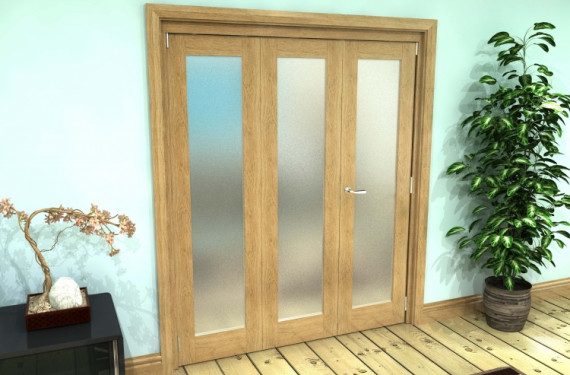 Frosted Glazed Oak Prefinished Roomfold Grande 1800mm (6ft)2 + 1 Set