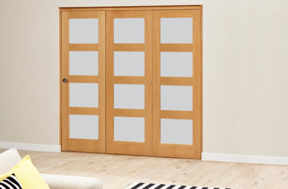 Frosted Prefinished 4l Roomfold Deluxe (3 X 610mm Doors)