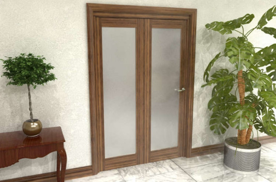 Frosted Walnut Glazed Prefinished 2 Door Roomfold Grande (2 + 0 X 610mm Doors)