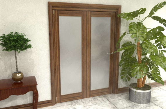 Frosted Walnut Glazed Prefinished 2 Door Roomfold Grande (2 + 0 X 686mm Doors)