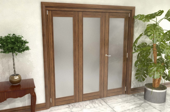 Frosted Walnut Glazed Prefinished 3 Door Roomfold Grande 1800mm (6ft) 2 + 1 Set