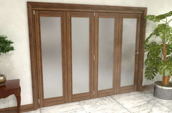 Frosted Walnut Glazed Prefinished 4 Door Roomfold Grande 2400mm (8ft) 4 + 0 Set