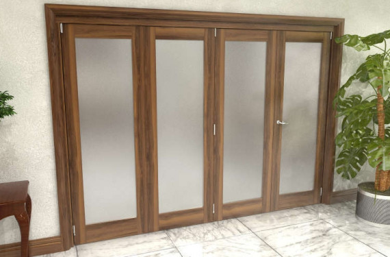 Frosted Walnut Glazed Prefinished 4 Door Roomfold Grande (3 + 1 X 762mm Doors)