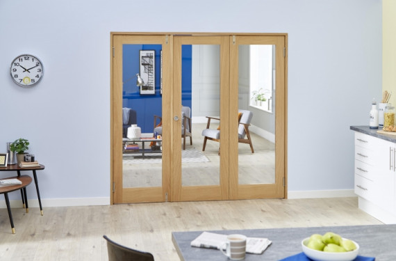 Glazed Oak - 3 Door Frenchfold 6ft (1800mm) Set
