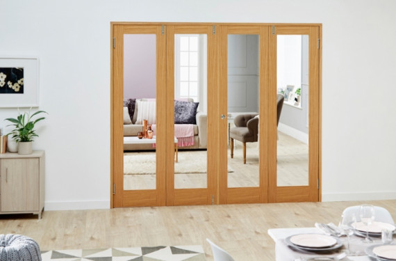 Glazed Oak - 4 Door Frenchfold (4 X 1'9