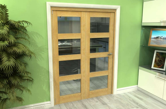 Glazed Oak 2 Door 4l Roomfold Grande (2 + 0 X 686mm Doors)