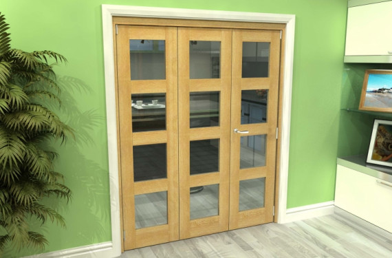 Glazed Oak 3 Door 4l Roomfold Grande (2 + 1 X 533mm Doors)