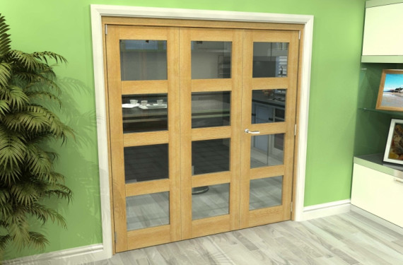 Glazed Oak 3 Door 4l Roomfold Grande (2 + 1 X 610mm Doors)