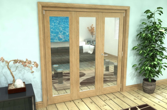 Glazed Oak 3 Door Roomfold Grande (2 + 1 X 686mm Doors)
