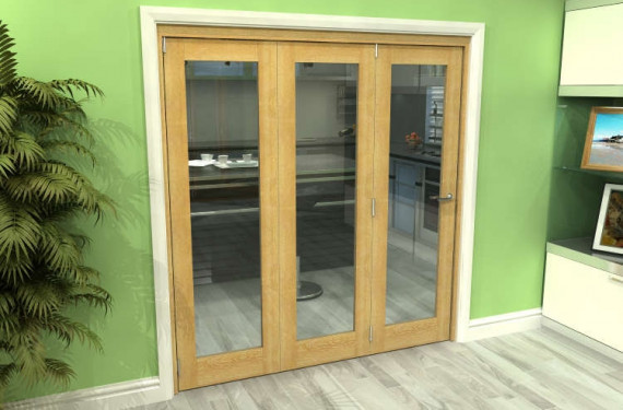 Glazed Oak 3 Door Roomfold Grande (3 + 0 X 610mm Doors)