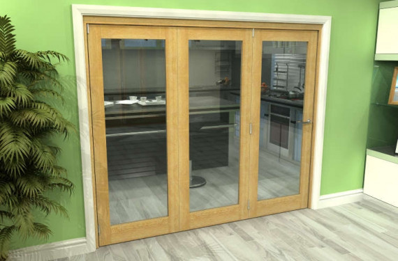 Glazed Oak 3 Door Roomfold Grande (3 + 0 X 762mm Doors)