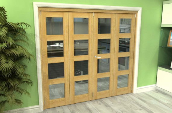 Glazed Oak 4 Door 4l Roomfold Grande (2 + 2 X 533mm Doors)
