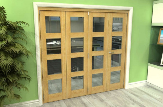 Glazed Oak 4 Door 4l Roomfold Grande (3 + 1 X 533mm Doors)